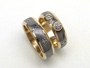 Stainless Damascus Rings in Heirloom Gold & Diamonds