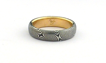 Stainless Damascus Steel Ring With 14K Gold