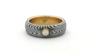 Stainless Damascus Steel Rings With 14K Gold