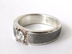 Diamond Damascus Ring in Silver w/ 14K White Gold Plate setting