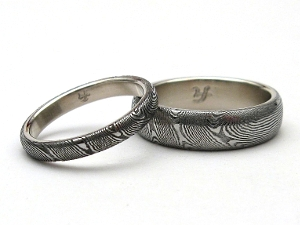 Stainless Damascus Steel Rings With Sterling Silver