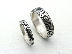 Stainless Damascus Rings in Sterling, Flat Profile