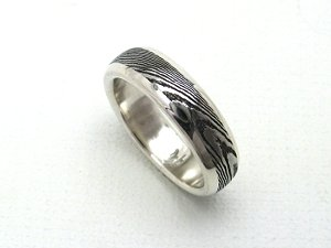 Stainless Damascus Ring in Sterling with Rails