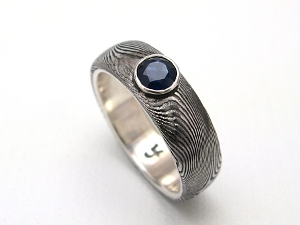 Stainless Damascus Steel Rings With Sterling Silver and Sapphire