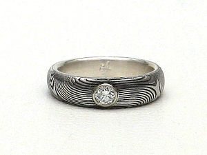 Stainless Damascus Steel Ring With STerling Silver and Diamond