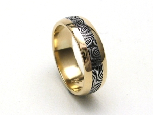Handmade Stainless Damascus Ring 18K Gold Rails by J.Arthur Loose